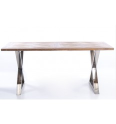 Mesa de comedor moderna madera y acero inoxidable - KANSAS