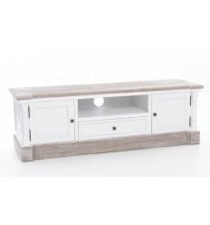 Mueble de televisión madera y blanco decapado - CLAIRE