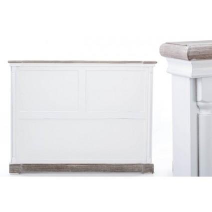 Cabecero blanco decapado y madera cama 150 - CLAIRE
