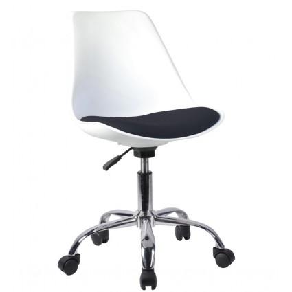 Silla escritorio blanca y negra ruedas - RAY