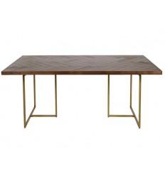 Mesa de comedor madera y latón color oscuro - BRUNO