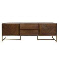 Mueble de televisión madera y latón color oscuro - BRUNO