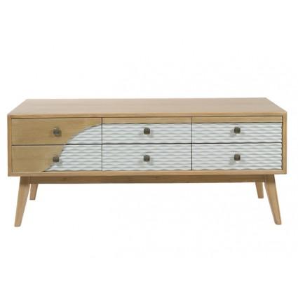 Mueble de televisión nórdico de madera y blanco - BLUE