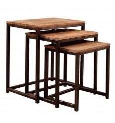 Set de mesas auxiliares de estilo industrial Logan