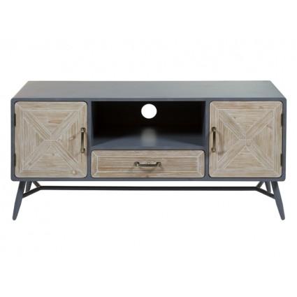 Mueble de televisión de estilo industrial madera y hierro - QUEENS