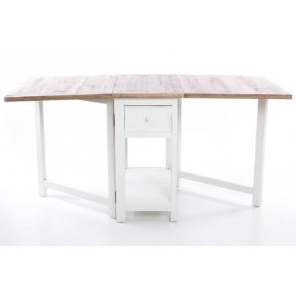 Mesa de comedor plegable blanca y madera - JULIA