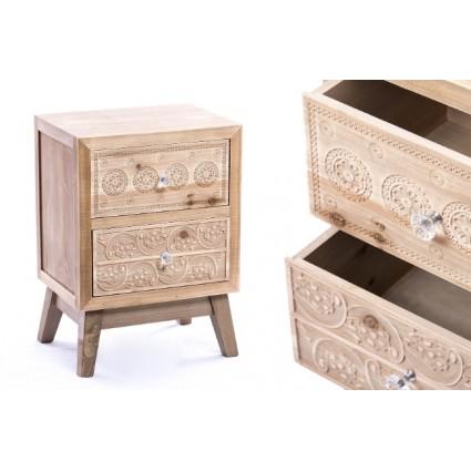 Mesita de noche de madera tallada dos cajones - SOUL