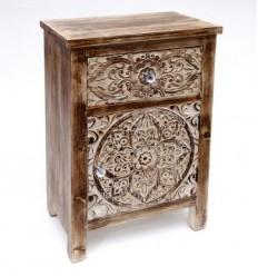 Mesita de noche vintage madera tallada - DECAPE