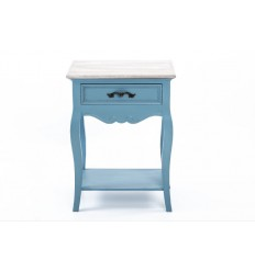 Mesita de noche estilo provenzal un cajón azul - CIELO