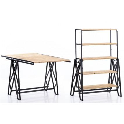 Estantería industrial madera y hierro convertible - SIMPLY