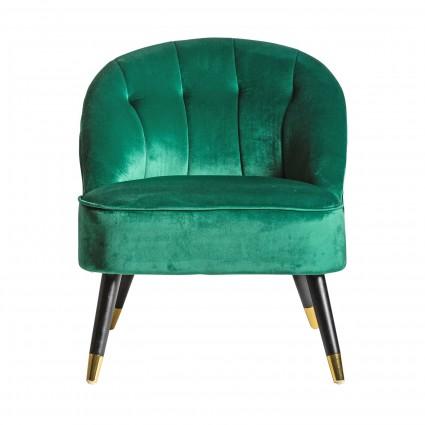 Sillón vintage de tela suave verde - BEATRIZ