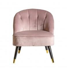 Sillón vintage de tela suave rosa - BEATRIZ