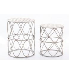 Set de dos mesas auxiliares de metal blanco envejecido - INGRID