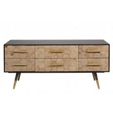 Mueble de televisión industrial madera y hierro - PANAL