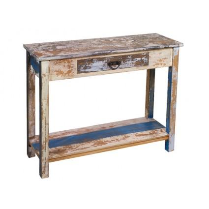 Consola recibidor madera envejecida un cajón - SOLO