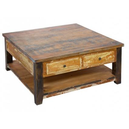 Mesa de centro madera envejecida cajones - SOLO