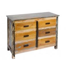 Cómoda madera envejecida seis cajones - SOLO