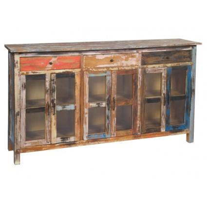 Aparador madera envejecida seis puertas - SOLO