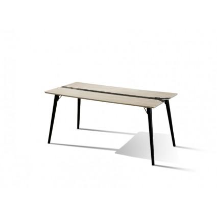 Mesa de comedor estilo industrial blanca y negra - ZIG ZAG
