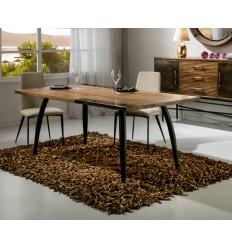 Mesa de comedor estilo industrial decoración latón - DRESDE