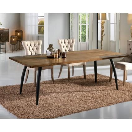 Mesa de comedor grande estilo industrial decoración latón - DRESDE