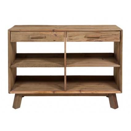 Estantería estilo rústico de madera reciclada dos cajones - BUNTA