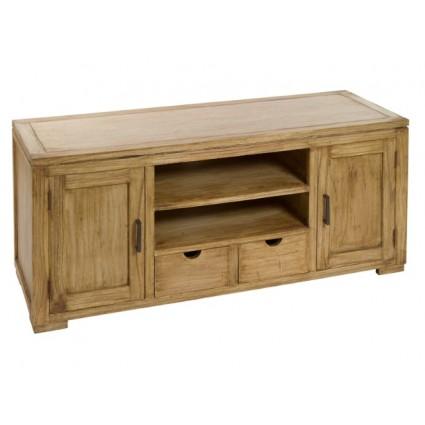 Mueble de televisión estilo colonial madera acabado natural - IOS