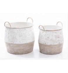 Macetero de metal diseño cesta - LÍA