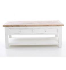 Mesa de centro madera natural y blanca cajones - JULIA