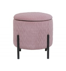 Taburete redondo de tela suave rosa - NEIL