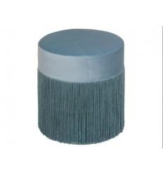 Puff redondo tela suave flecos azul - CABARET