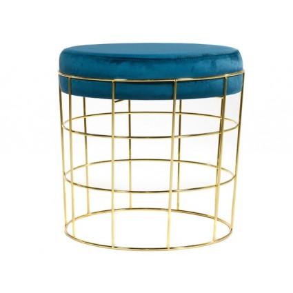 Taburete de latón asiento azul - TIFFANY