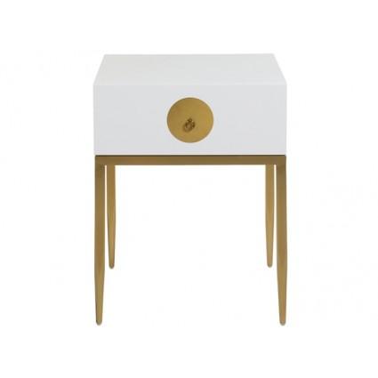 Mesita de estilo contemporáneo un cajón blanca y bronce - CLASSY