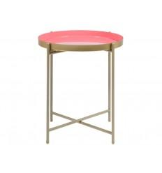Mesa auxiliar redonda de latón rosa - FANTASY