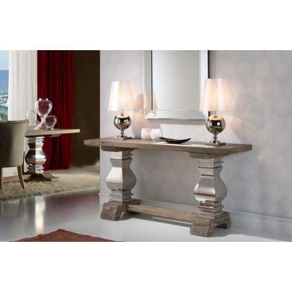 Consola recibidor madera y acero pilastras - ANTICA