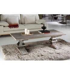 Mesa de centro madera y acero pilastras - ANTICA