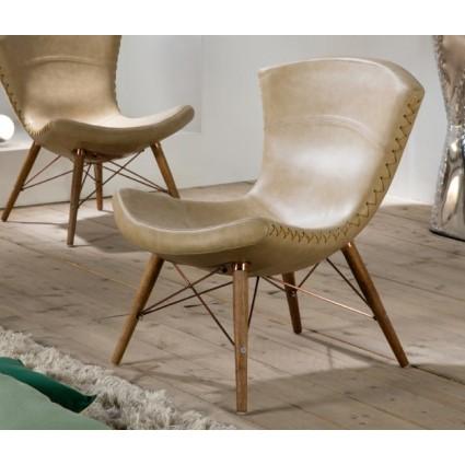 Sillón de estilo vintage polipiel beige - ARIZONA