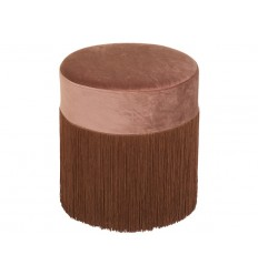 Puff redondo tela suave flecos marrón - CABARET