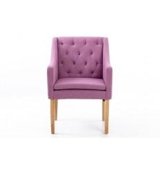 Sillón moderno de tela rosa respaldo capitoné - VENUS