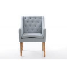 Sillón moderno de tela azul respaldo capitoné - VENUS