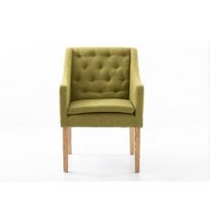 Sillón moderno de tela verde respaldo capitoné - VENUS
