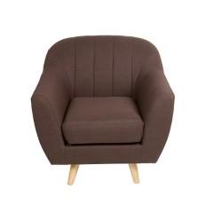 Sillón de estilo nórdico tapizado marrón - NORDIC