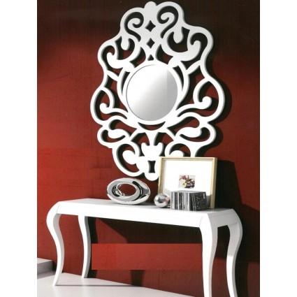 Conjunto consola y espejo de estilo isabelino blanco - FLOWER