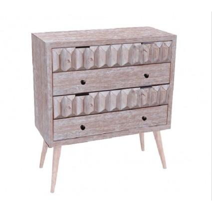 Cómoda madera color crema cuatro cajones - ALBERT