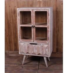 Vitrina de madera color crema dos puertas y un cajón - ALBERT