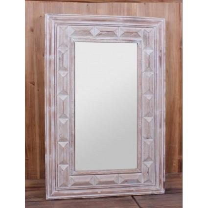 Espejo de madera color crema marco tallado - ALBERT