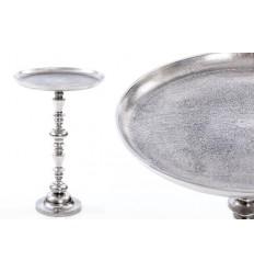 Mesa auxiliar de estilo vintage redonda plateada - ANNA