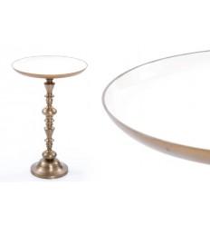 Mesa auxiliar de estilo vintage redonda blanca y dorada - MERY