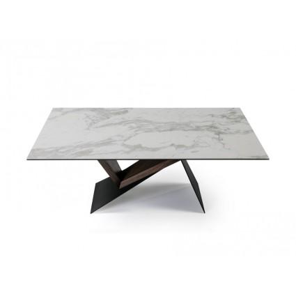 Mesa de comedor metal y madera tapa mármol - NOA