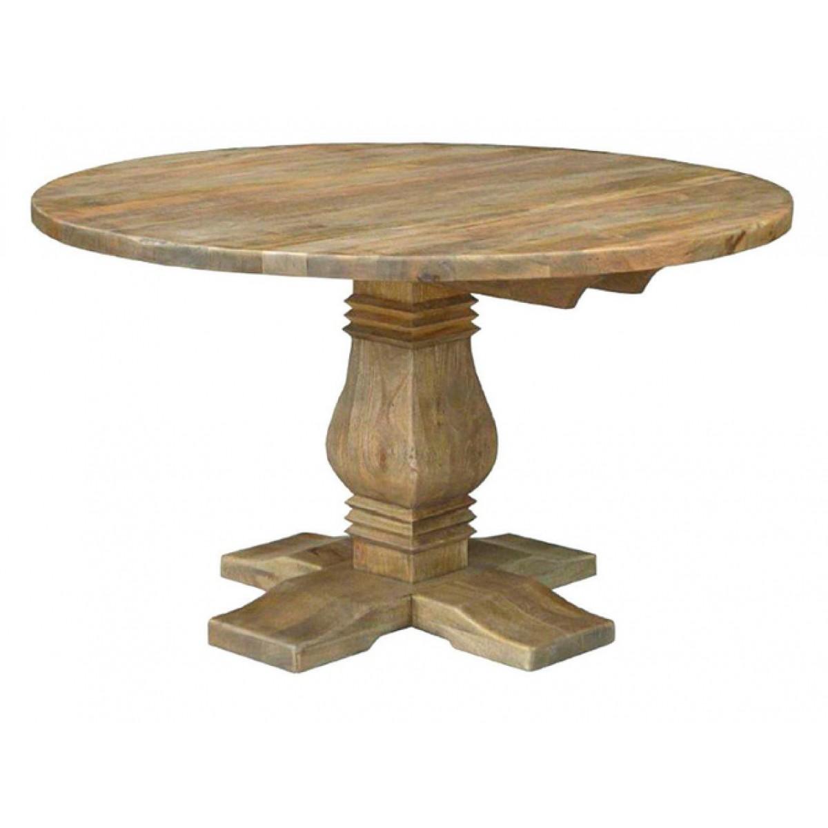 Mesa de comedor rústica redonda madera de Giner y Colomer - GODIN.